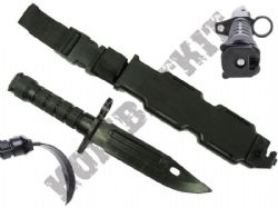 M9 Rubber Training Knife Black Airsoft Bayonet USA Military replica with hard case